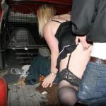 Dogging slut fucked in a van